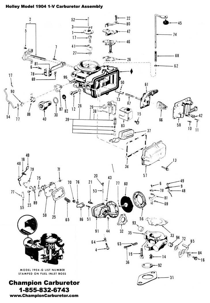 53 62 holley 1904 replacement bowl cag 1904 ab 89 99 champion rh championcarburetor com Vintage Holley Carburetor Exploded View Parts Holley 4150 Carburetor Parts Diagram